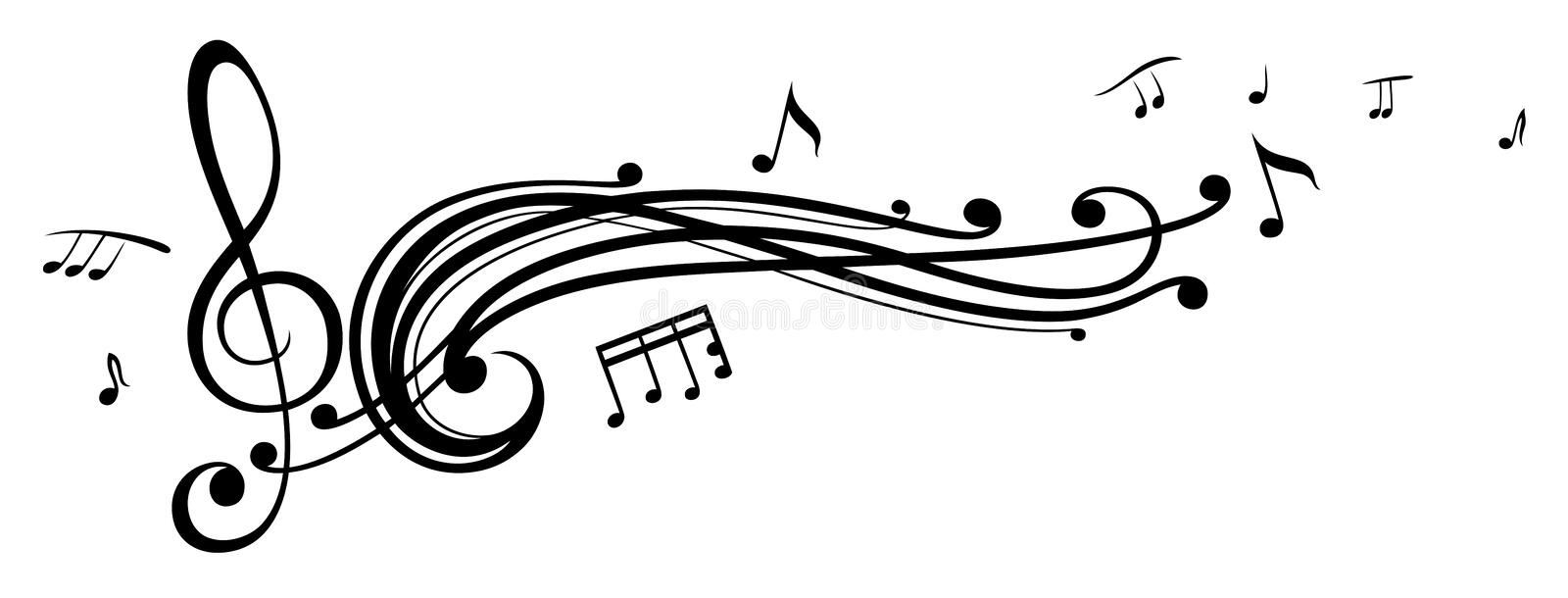 Music, music notes, clef. Clef with music notes, design element vector illustration