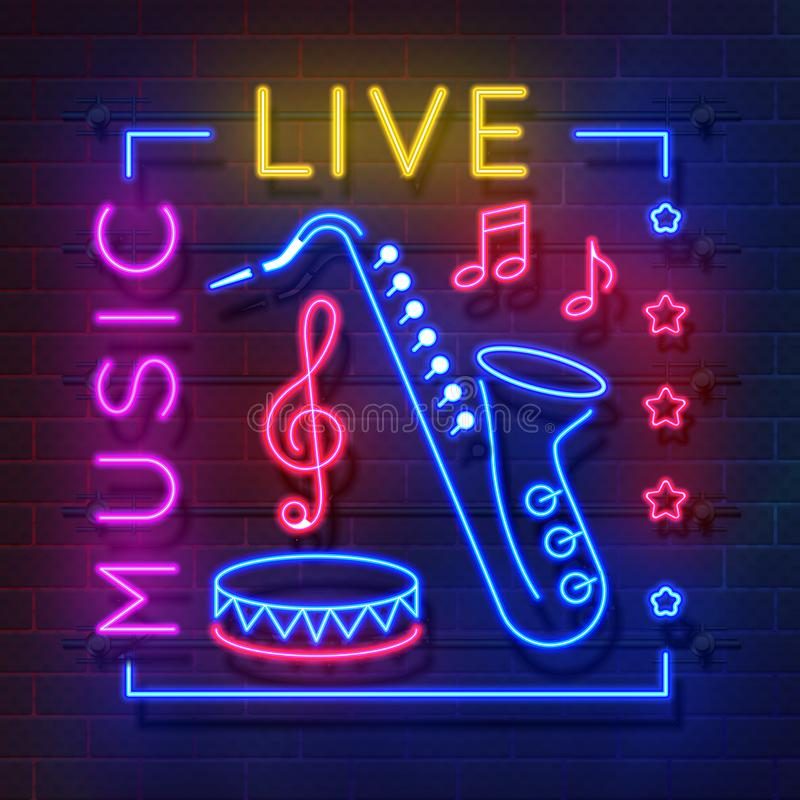 Music neon sign. Glowing karaoke banner, live music light emblem, disco club retro poster. Vector music and sound neon royalty free illustration