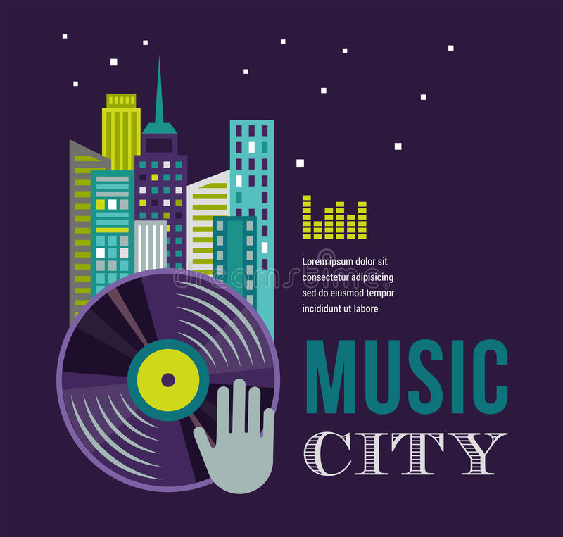Download Music And Night Life Of City Landscape Background Stock Vector - Image: 41177615