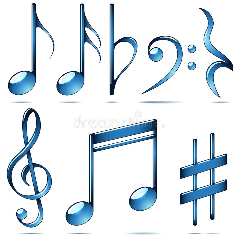 Music notation blue glass symbols. royalty free illustration