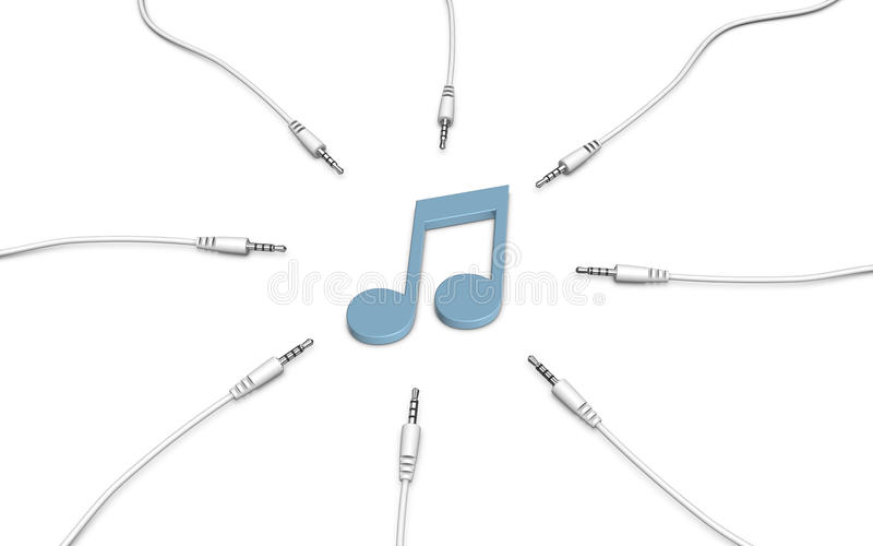 Music note and audio cables. 3d illustration royalty free illustration