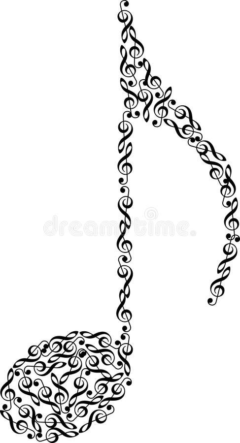Music note from clefs stock illustration