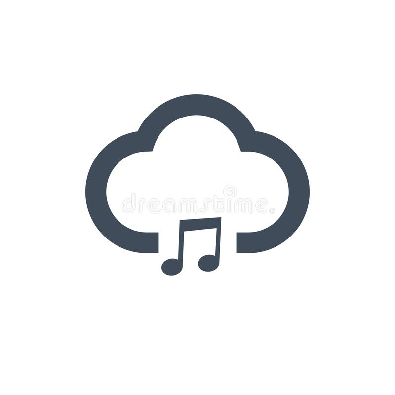 music note cloud sound icon. Vector illustration isolated on clean background. royalty free illustration