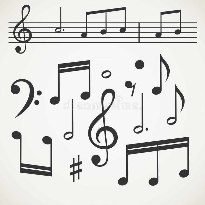 Download Music note collection stock vector. Image of icon, flat - 34632254