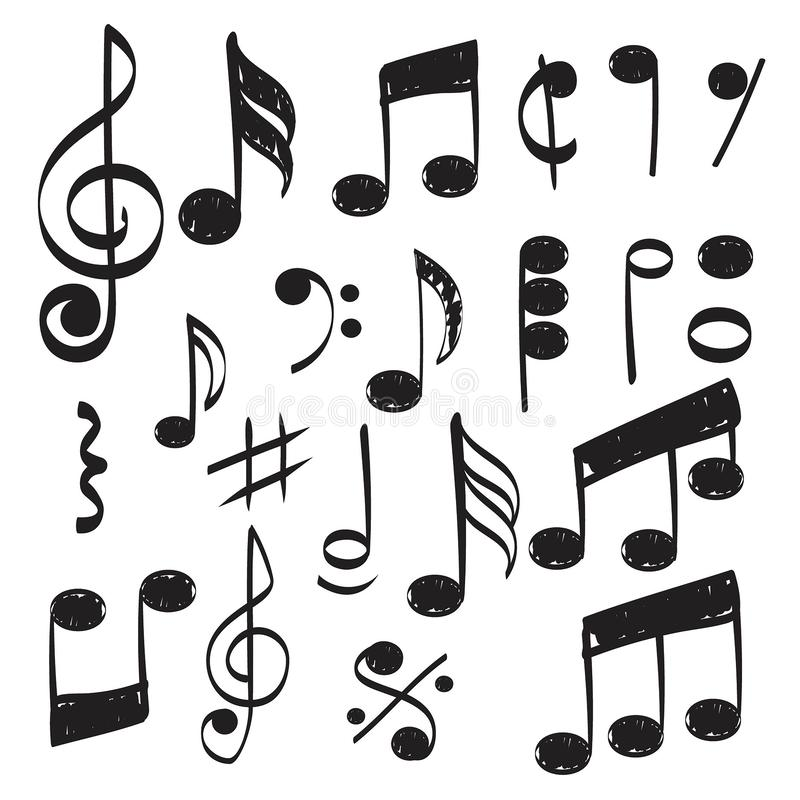 Music note. Doodles sketch musical vector hand drawn pictures isolated stock illustration