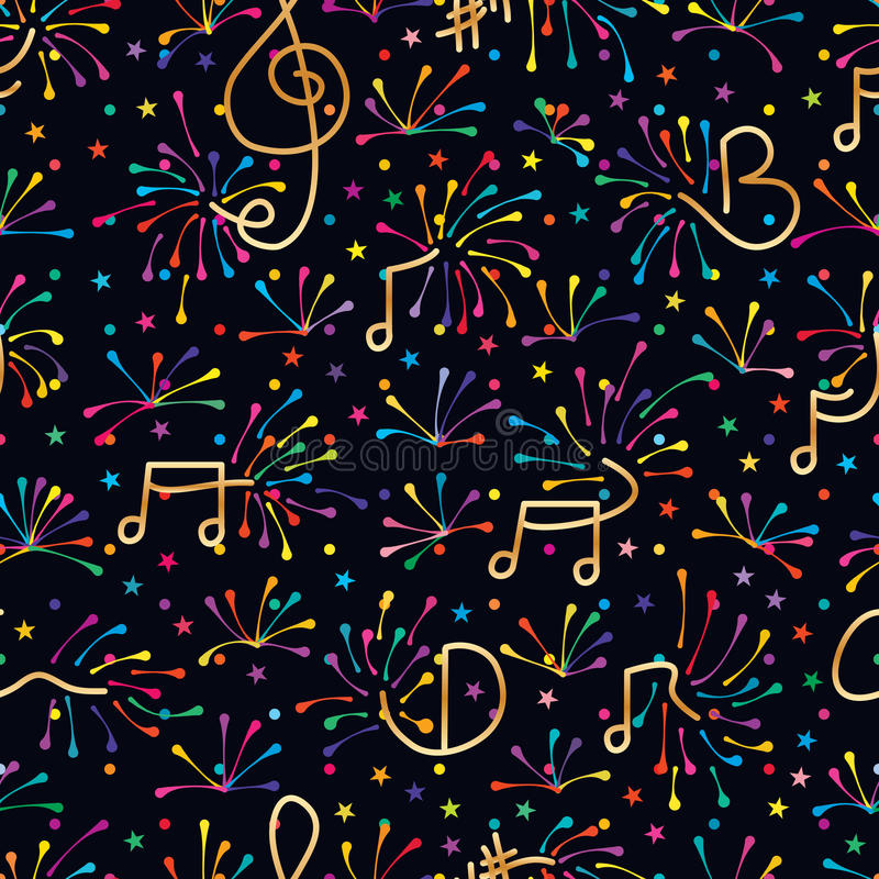 Music note firework colorful seamless pattern. This illustration is design abstract music note bring the firework colorful fun and climax in dark background star vector illustration