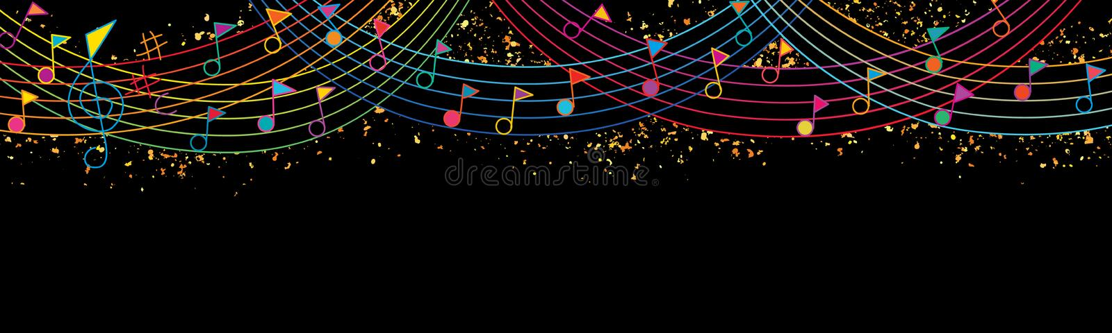 Music note flag top celebration rainbow line giltter banner. This illustration is abstract flag hang festival celebration with music note flag concept and vector illustration