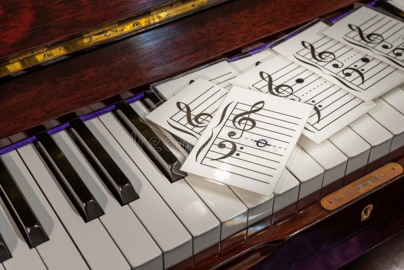 Music note on flash cards. Close up music note on flash cards. Flash cards on piano royalty free stock photos