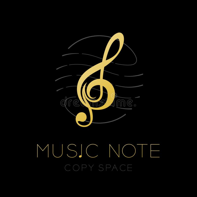 Music note gold color with dash line staff circle shape frame, logo icon set design illustration. Isolated on black background with Music note text and copy vector illustration