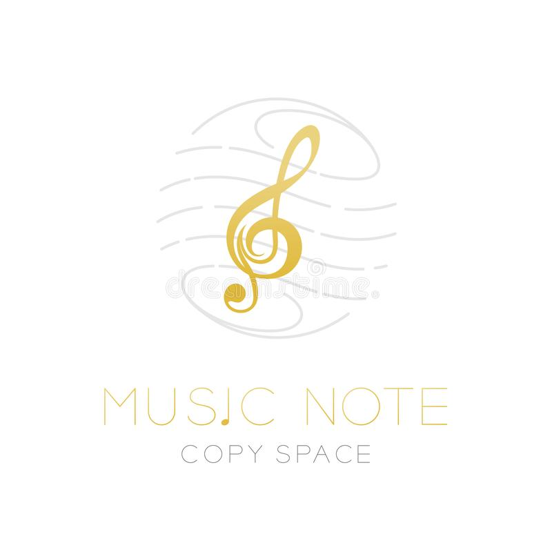 Music note gold color with dash line staff circle shape frame, logo icon set design illustration. Isolated on white background with Music note text and copy royalty free illustration