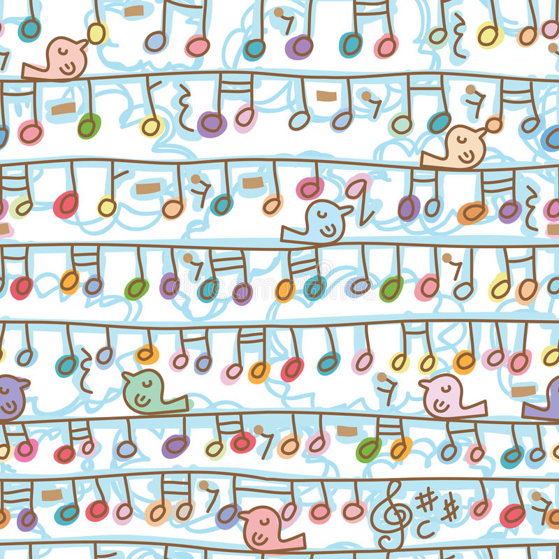 Music note hang line bird stand seamless pattern royalty free illustration