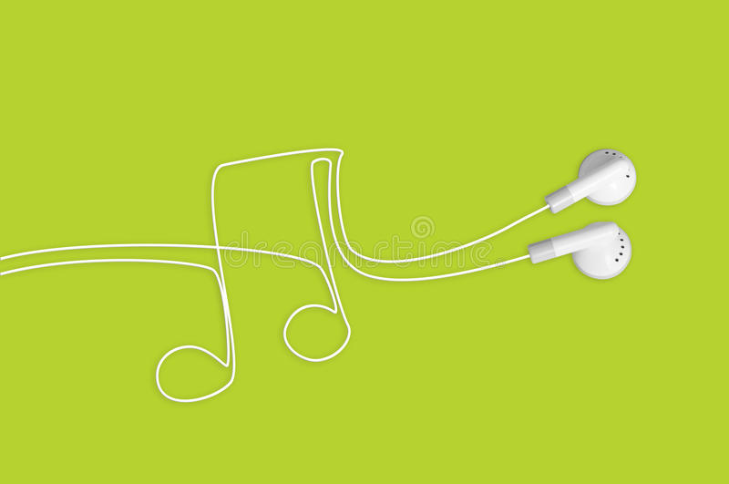 Headphones Music Notes: Music Note With Headphone Earbuds Stock Image