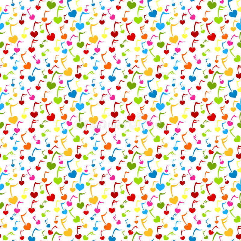 Music Note Hearts Seamless Background stock illustration