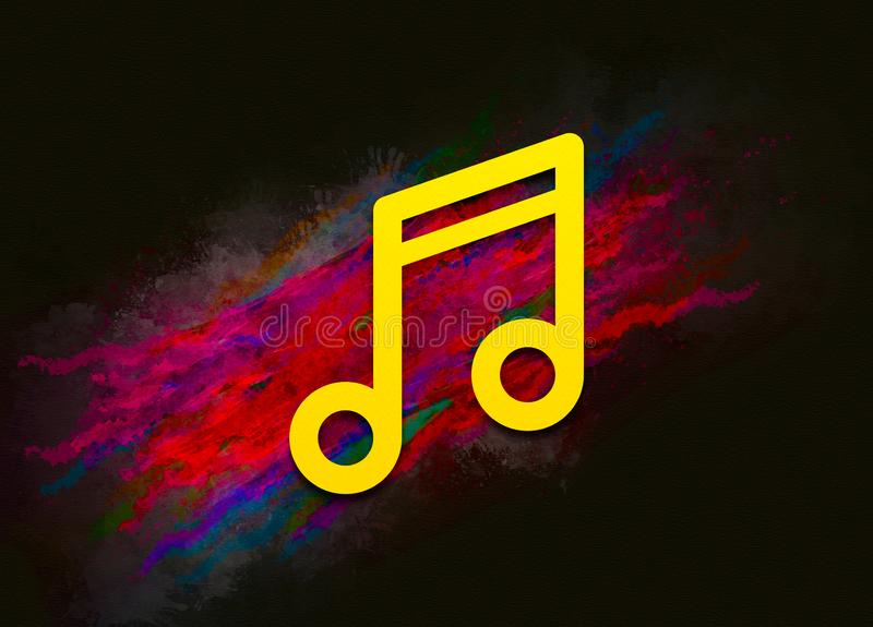 Music note icon colorful paint abstract background brush strokes illustration design. Creative bright red color texture fluid liquid waves royalty free illustration