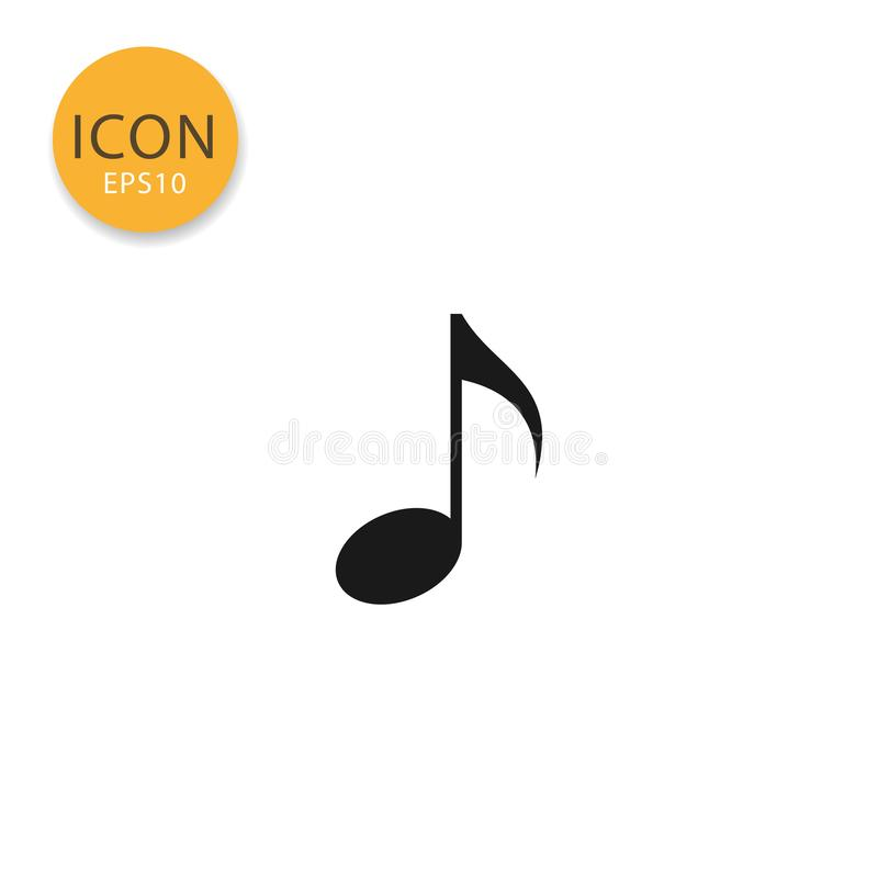 Music note icon isolated flat style. vector illustration
