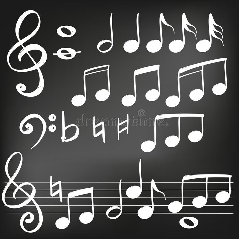 Music note icon hand drawn vector illustration realistic sketch , drawn in chalk on a black board stock illustration