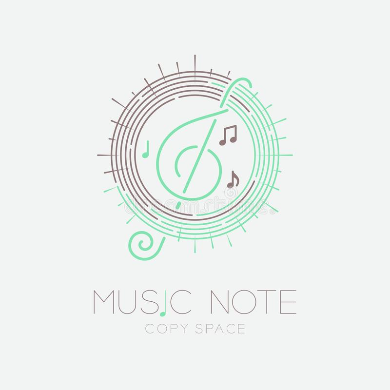 Music note with line staff circle shape logo icon outline stroke set dash line design illustration isolated on grey background. With music note text and copy royalty free illustration