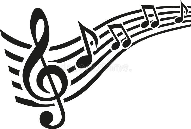 Music note line swirl royalty free illustration