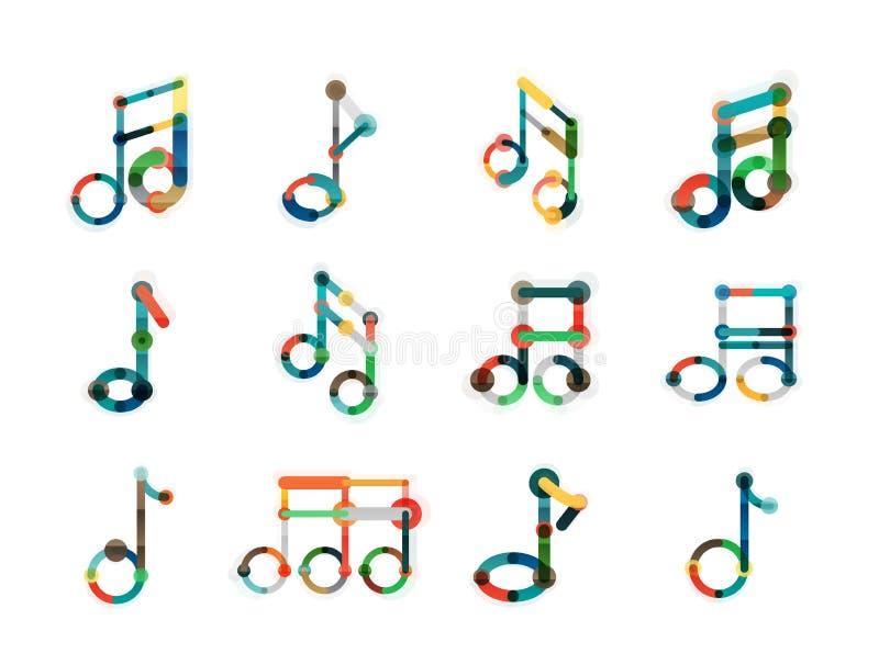 Music note logo set, flat thin line geometric icons. Isolated on white royalty free illustration