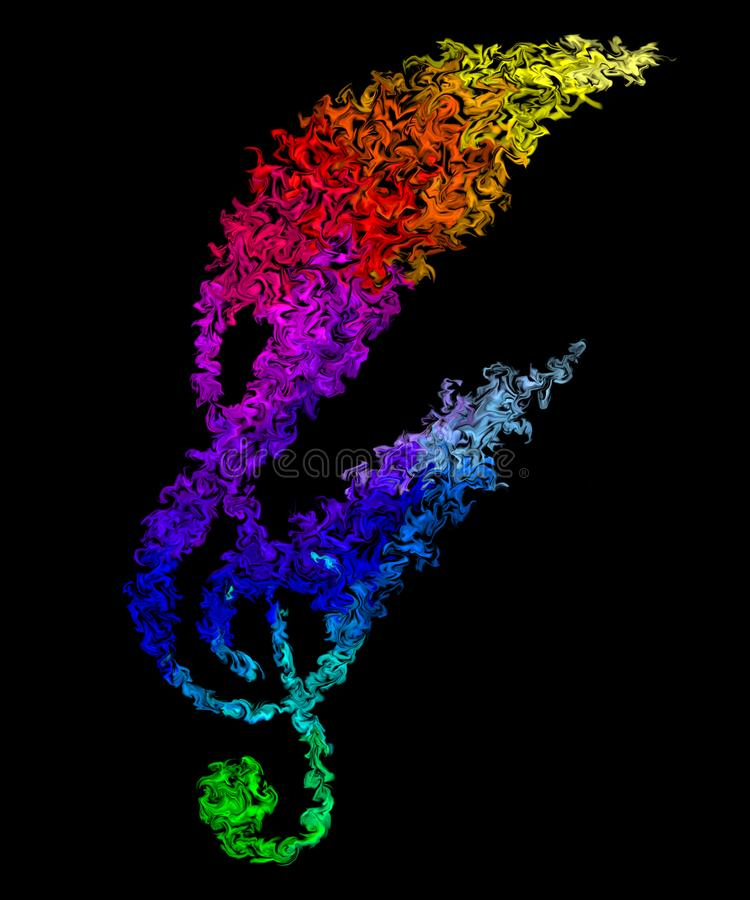Music Note in Motion - Pulsing Smeared Rainbow Colors, Fire Design. Colorful Wallpaper - Music Note in Pulsing Smeared Rainbow Colors, Fire Design stock illustration