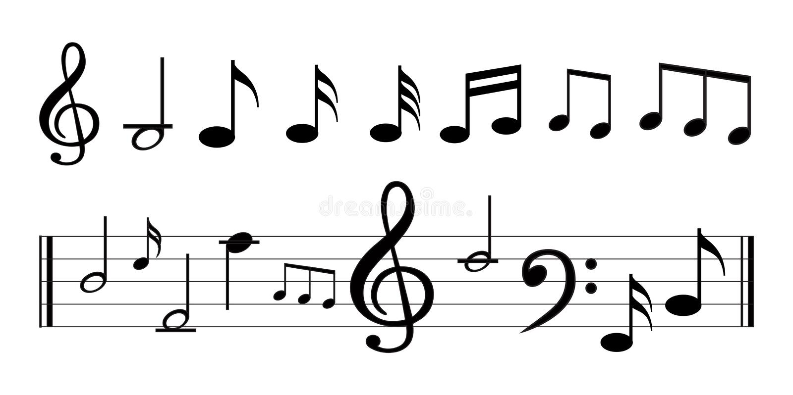 Music Note With Music Symbols Stock Vector Illustration Of Element