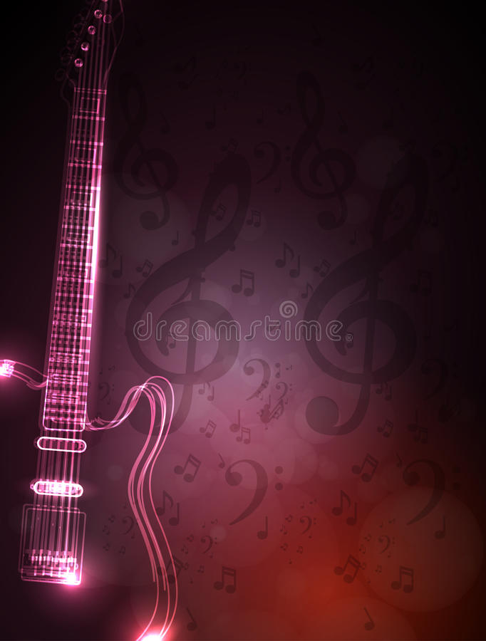 Music note and neon light guitar royalty free illustration