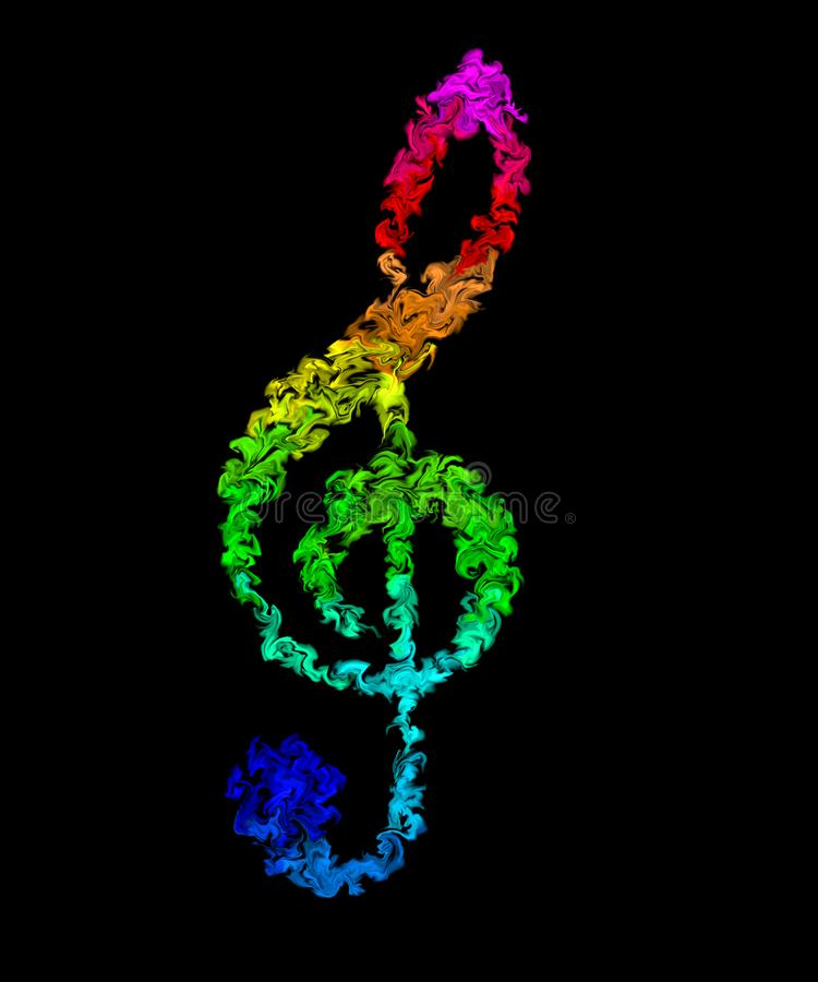Music Note - Pulsing Smeared Rainbow Colors, Fire Design. Colorful Wallpaper - Music Note in Pulsing Smeared Rainbow Colors, Fire Design stock illustration
