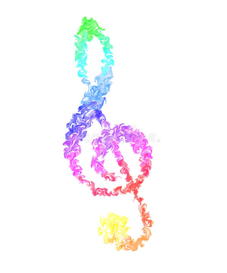 Music Note - Pulsing Smeared Rainbow Colors on White Background, Fire Design. Colorful Wallpaper - Music Note in Pulsing Smeared Rainbow Colors, Fire Design vector illustration