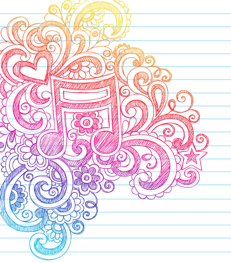 Music Note Sketchy Back to School Doodle Vector stock illustration