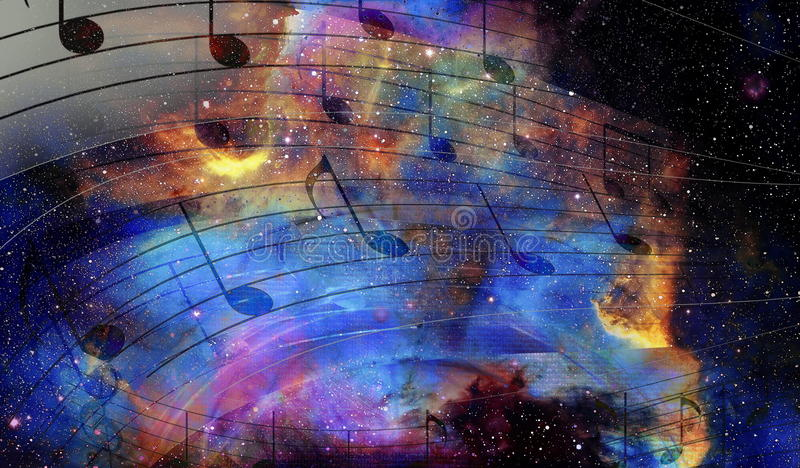 Music Notes In Space With Stars  Abstract Color Background