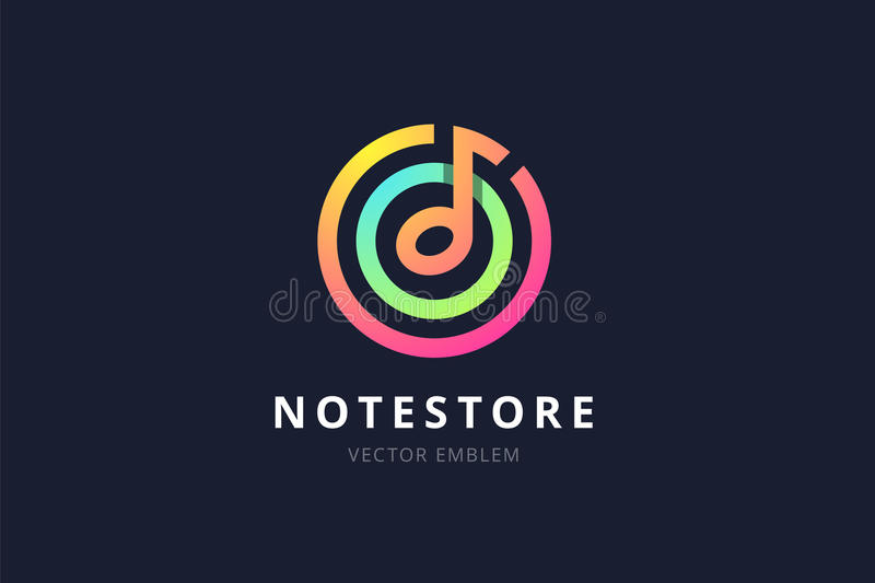Music note store emblem. royalty free illustration