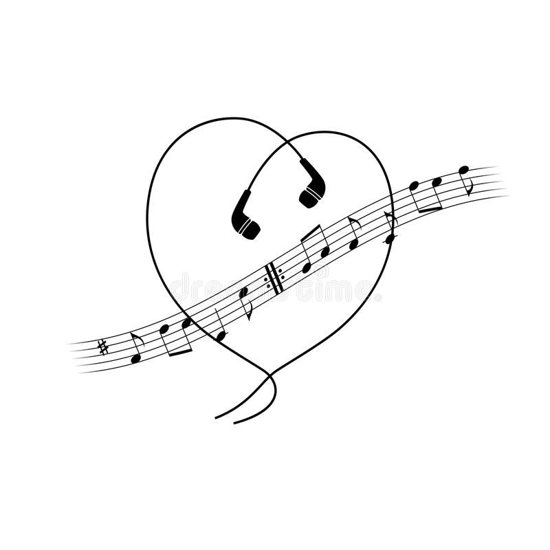 Music note wave with headphones in heart shape. Vector t-shirt or poster design. vector illustration