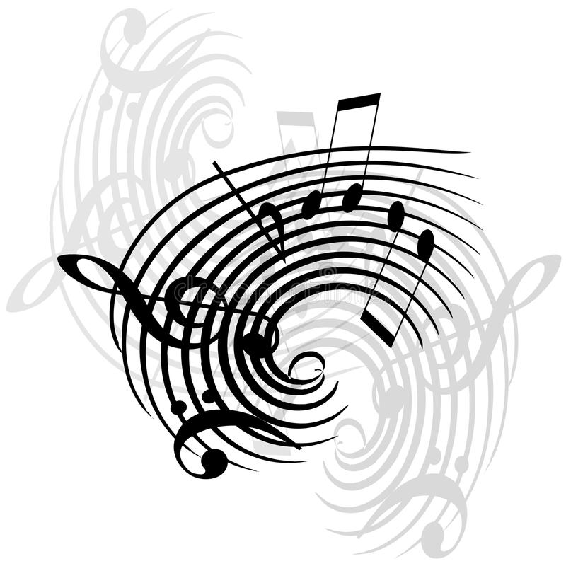 Music notes. Abstract swirly music notes vector illustration