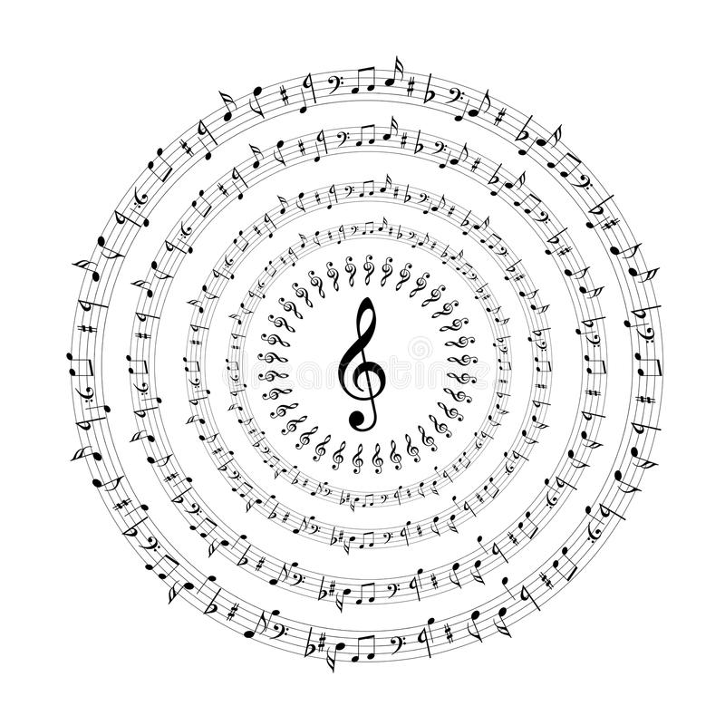 Music notes. The music notes in rounds computer generated stock illustration
