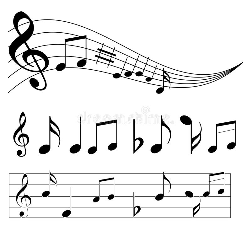 Music notes. An illustration of music notes on white stock illustration