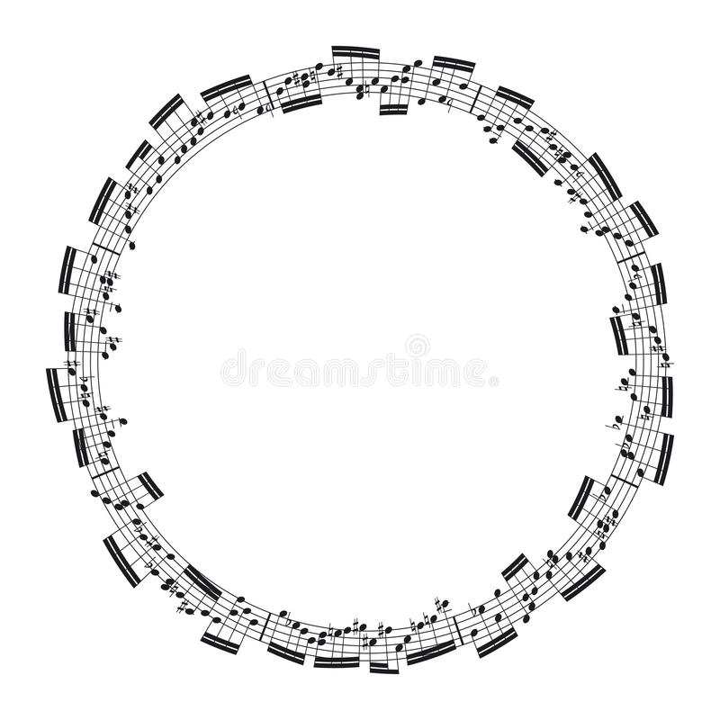 Music notes. In the form of a circle royalty free illustration