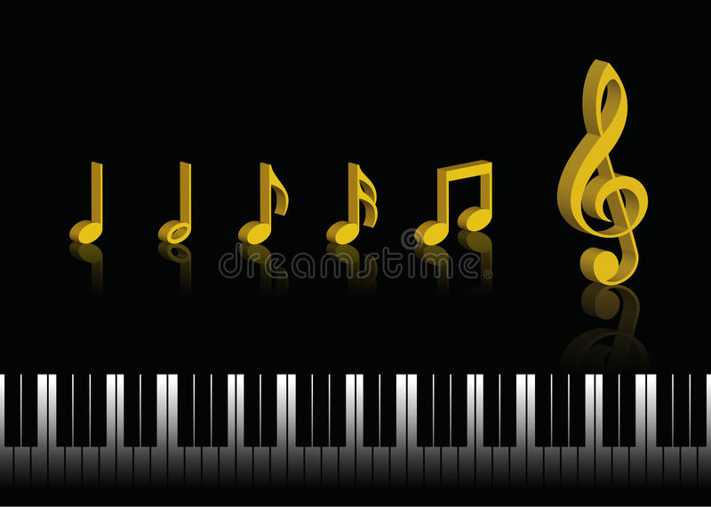 Music Notes. 3d music notes isolated on black background with piano keyboard vector illustration