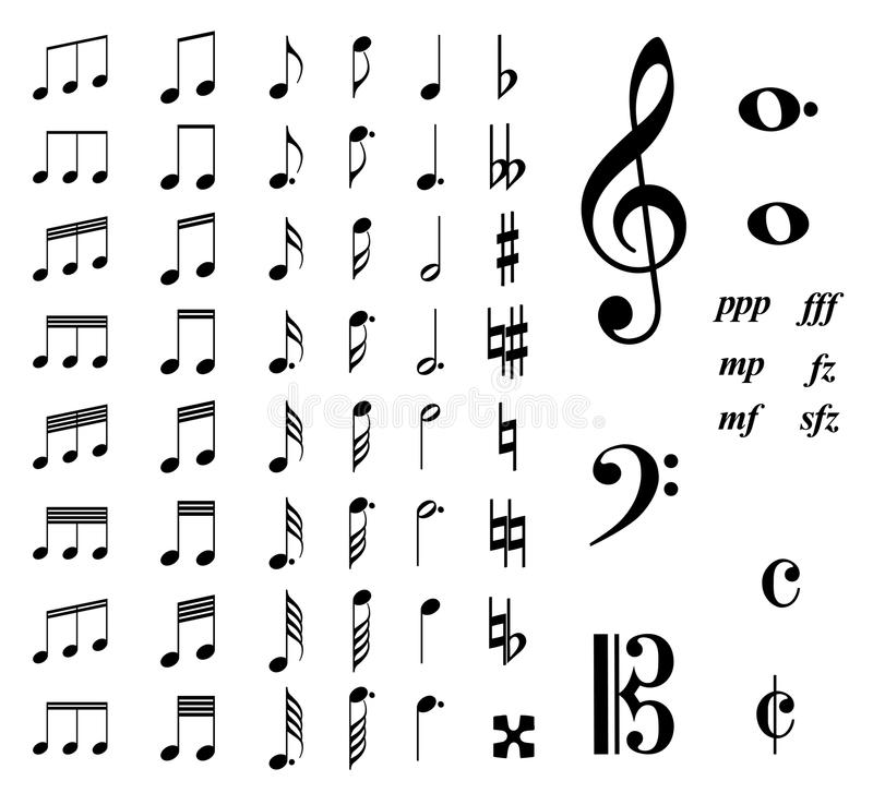 Music notes. Collection of of illustrations of different music notes isolated in white. An additional Vector . Eps file available. (you can use elements