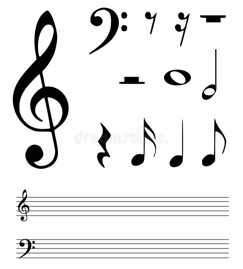 Music notes. Collection of illustrated music notes. eps file is available