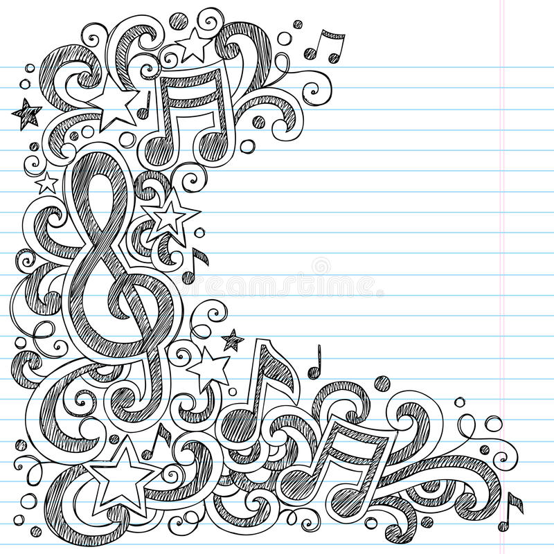 Free Music Notes And G Clef Sketchy Music Class Doodles Stock Photos - 27560173