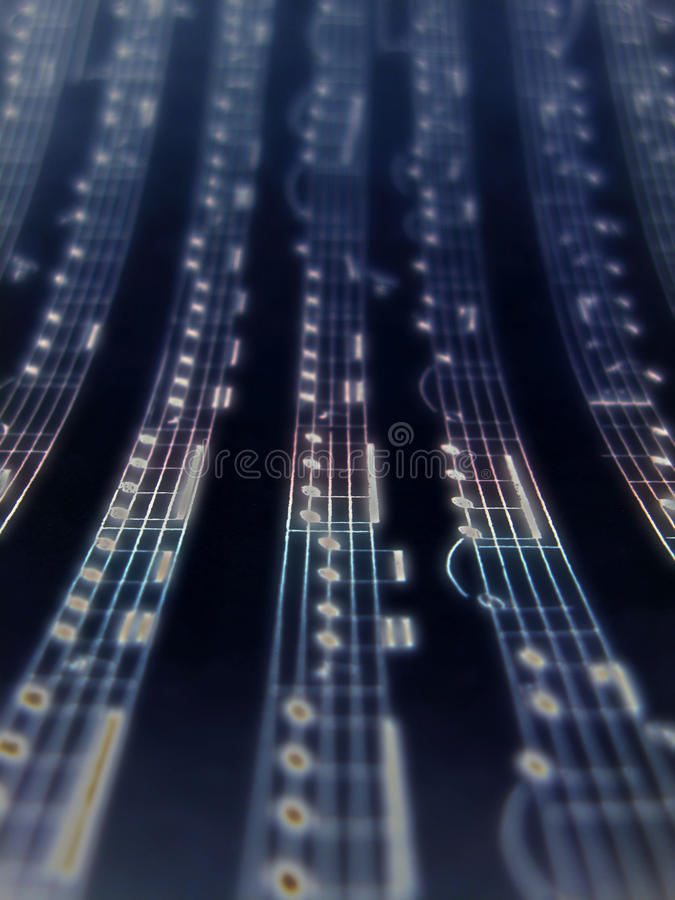 Music notes background. White music notes over black background