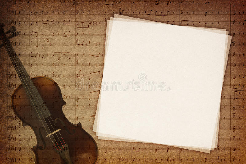 Music notes background. Music notes on fabric texture background with copy-space stock illustration