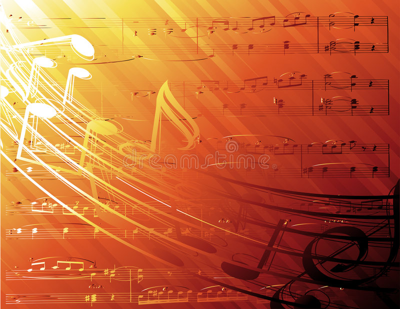 Music notes background. Music notes in light-background vector stock illustration