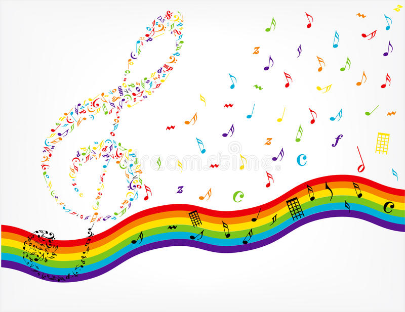 Rainbow Notes On Light Background Stock: Music Notes Background Stock Vector. Illustration Of