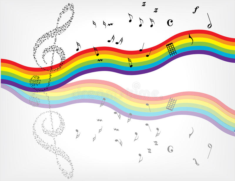 Rainbow Notes On Light Background Stock: Music Notes Background Stock Vector. Illustration Of Music
