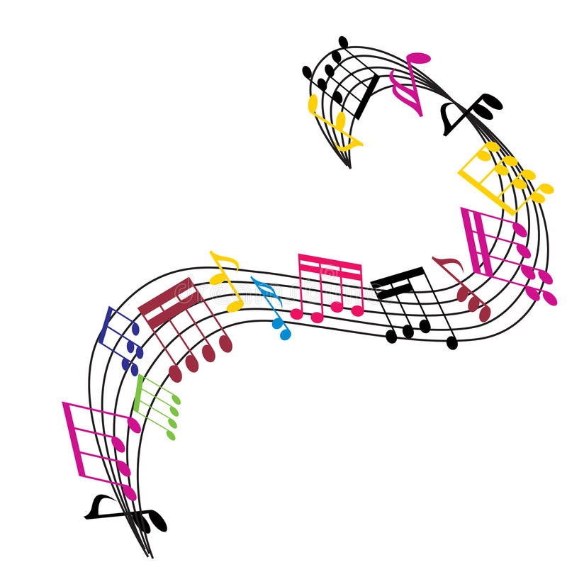 Music notes background, musical theme composition. Music notes background, stylish musical theme composition, vector illustration royalty free illustration