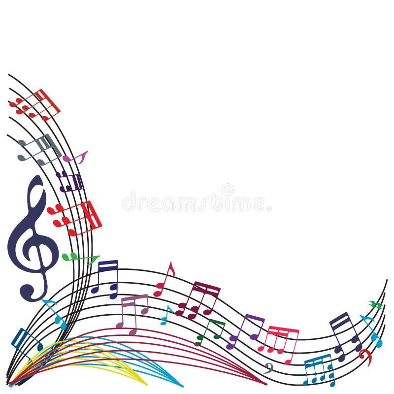 Music notes background, stylish musical theme composition, vector illustration. stock illustration