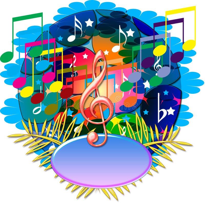 Music notes banner stock illustration