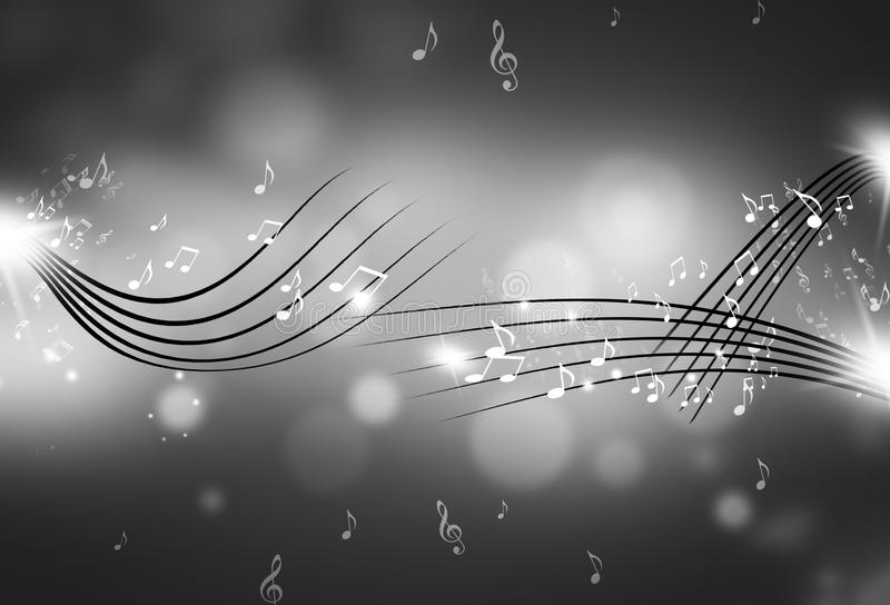 Music Notes Black and White Background vector illustration