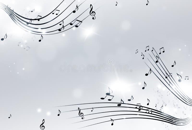 Music Notes Black and White Background. Music notes with lights and bokeh black and white background stock illustration
